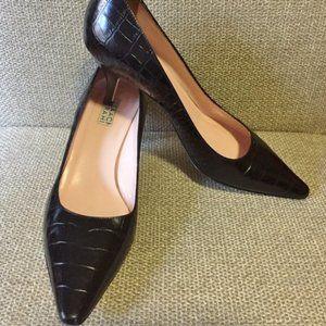 Isaac Mizrahi Croc Black Pointed Toe Heels